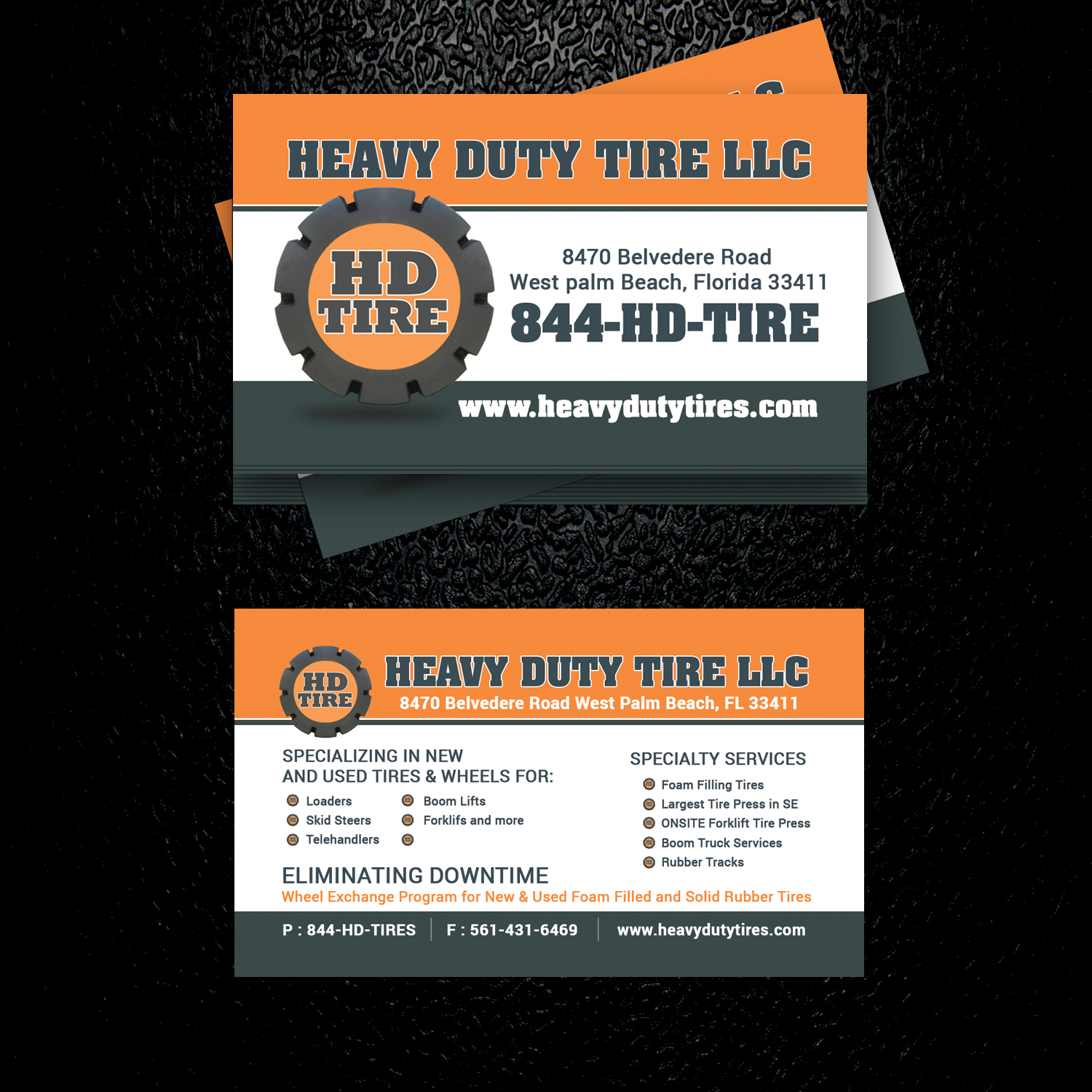 bold playful business card design for heavy duty tire llc by uk