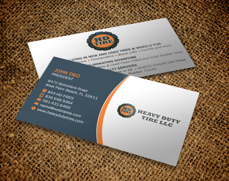 Bold, Playful, Business Business Card Design for HEAVY DUTY TIRE ...