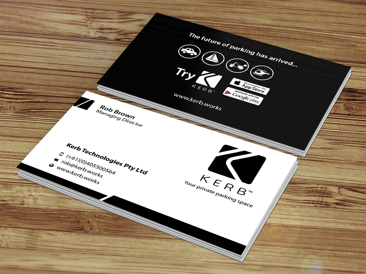Business card design for robert brown by creations box 2015 business card design by creations box 2015 for global parking app needs sleek business cards developed reheart Images