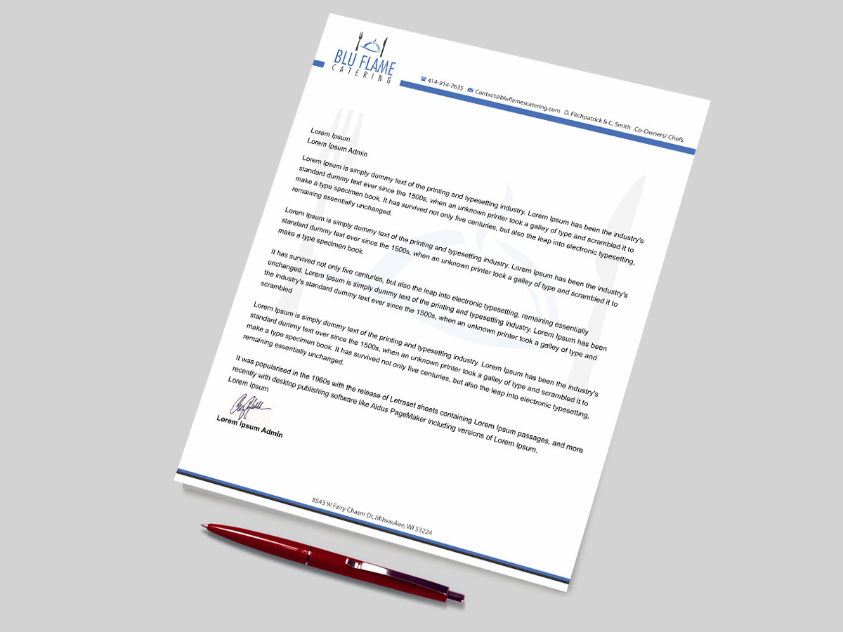 Letterhead Design by madhuraminfotech for Blu Flame
