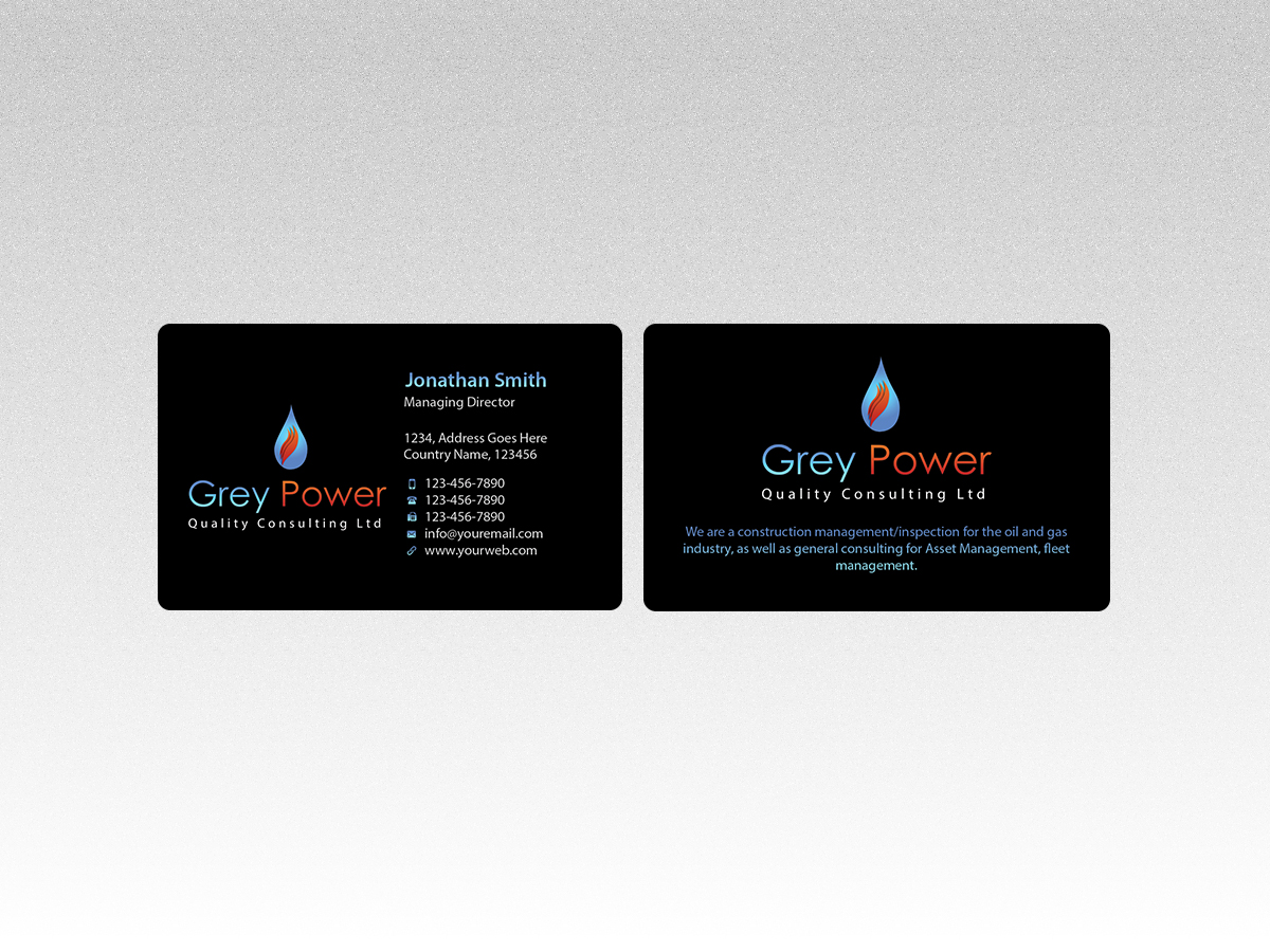 Masculine professional oil and gas business card design for business card design by creations box 2015 for greypower quality consulting ltd design reheart Images