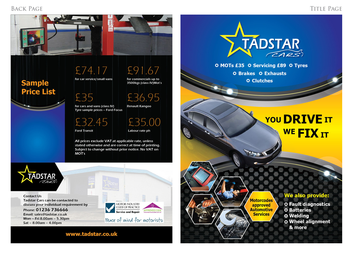 Bold professional garage brochure design for tadstar ltd for Automobile brochure design