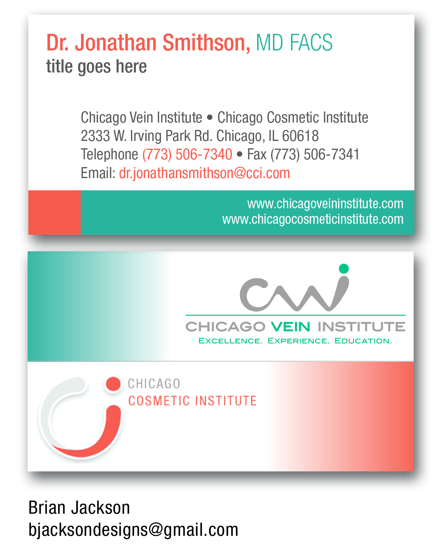 elegant playful business card design for chicago vein institute