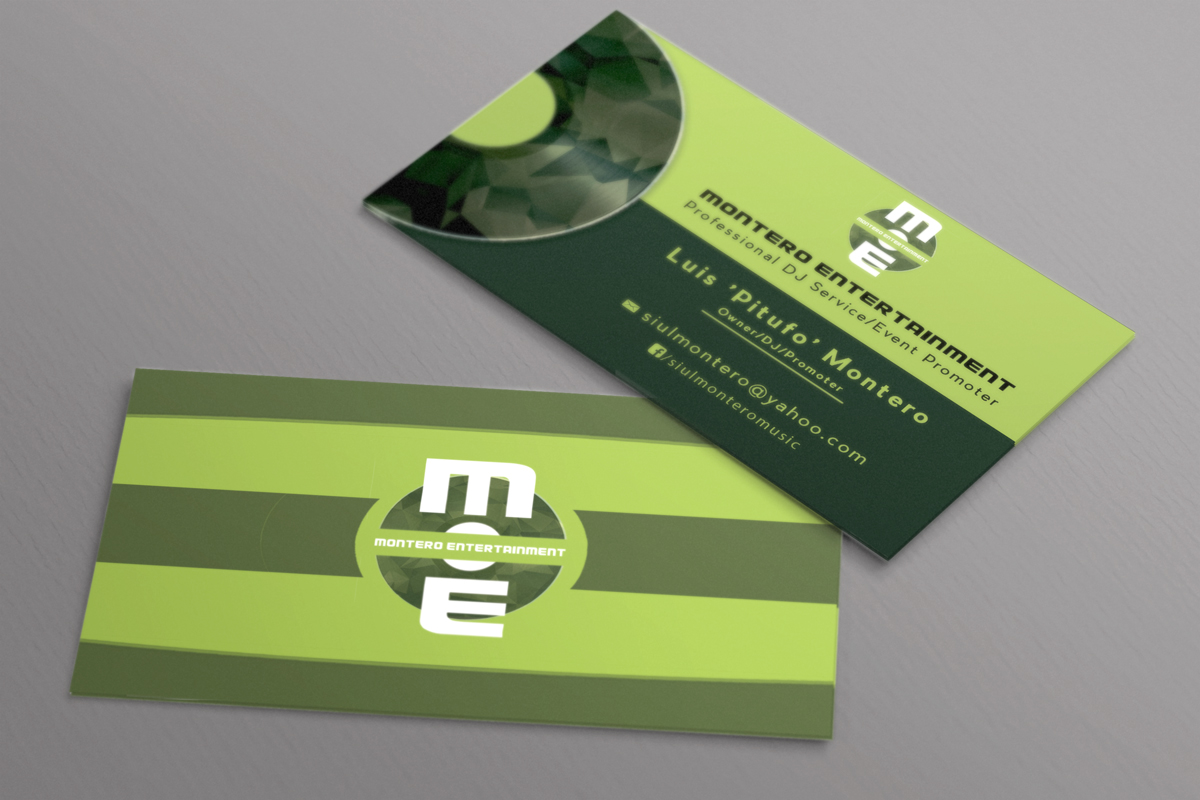 Masculine modern business card design for luis montero by regur business card design by regur for montero entertainment professional dj serviceevent promoter reheart Image collections