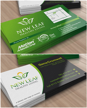 Business Card Design By Jakuart For New Leaf Healthy Living 2211623