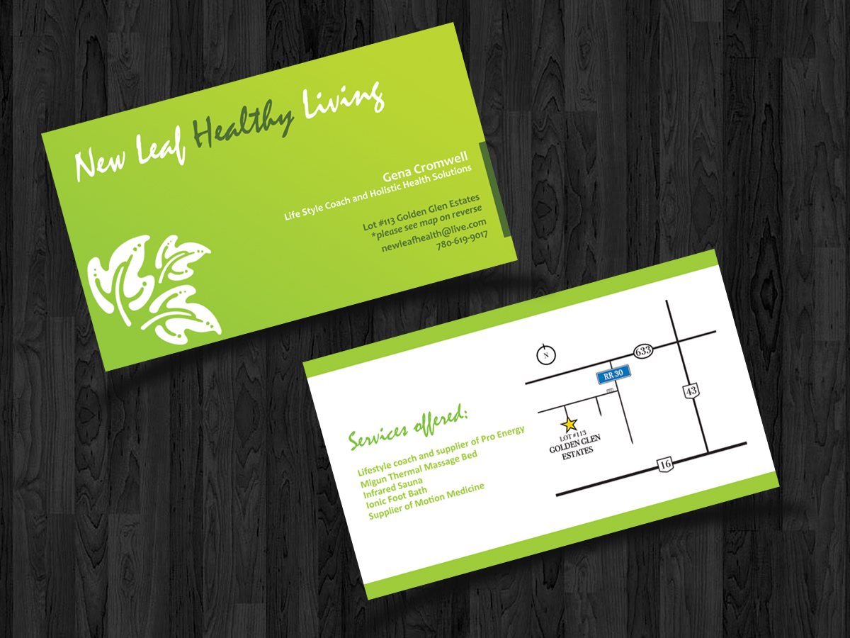 Elegant, Playful Business Card Design for New Leaf Healthy Living ...