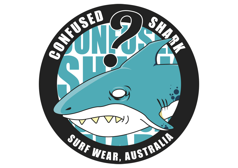 Elegant playful clothing sticker design for confused shark in australia design 2208953