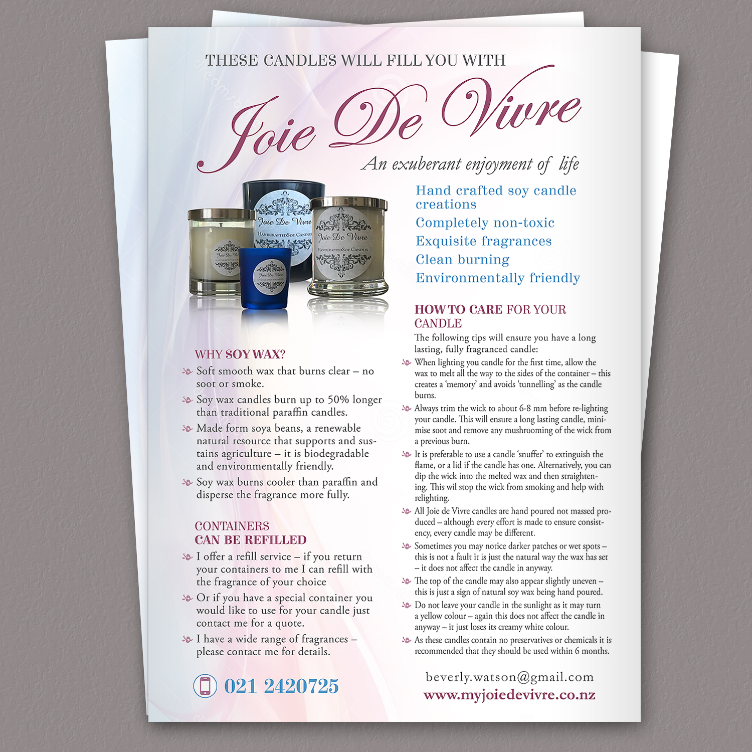 elegant feminine promotional flyer design for a company by