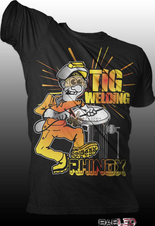Modern Professional Welding T Shirt Design For Rhinox Inc By