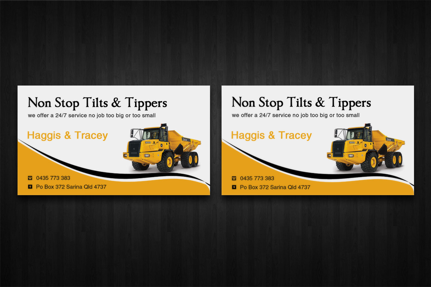 Bold, Modern Business Card Design for Non Stop Tilts & Tippers by ...