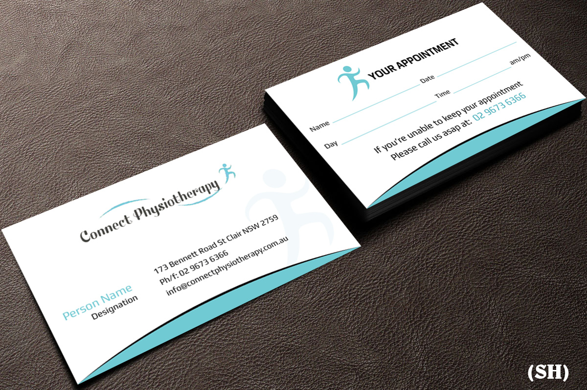 Modern professional business card design for david blackburn by business card design by esolbiz for connect physiotherapy business card design design 10376735 reheart Choice Image