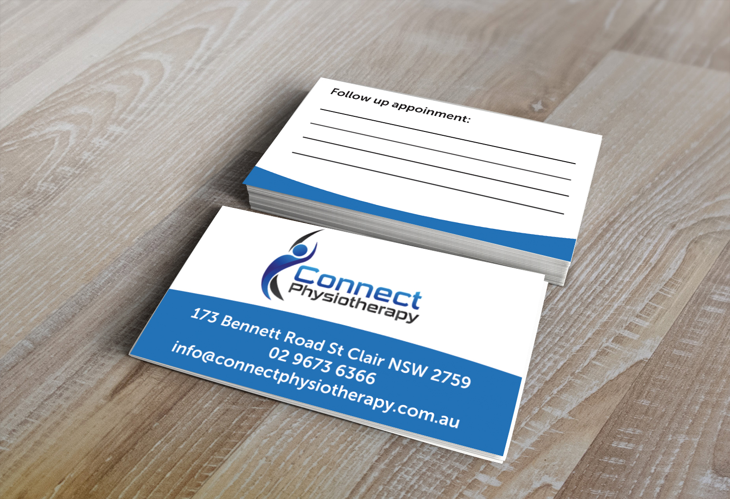 Modern professional business card design for david blackburn by business card design by speters designs for connect physiotherapy business card design design 10404875 reheart Image collections
