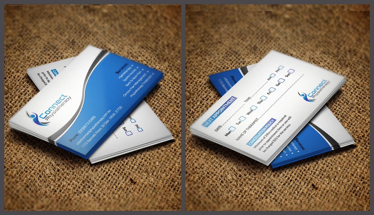 Modern professional business card design for david blackburn by business card design by pointless pixels india for connect physiotherapy business card design design reheart Choice Image
