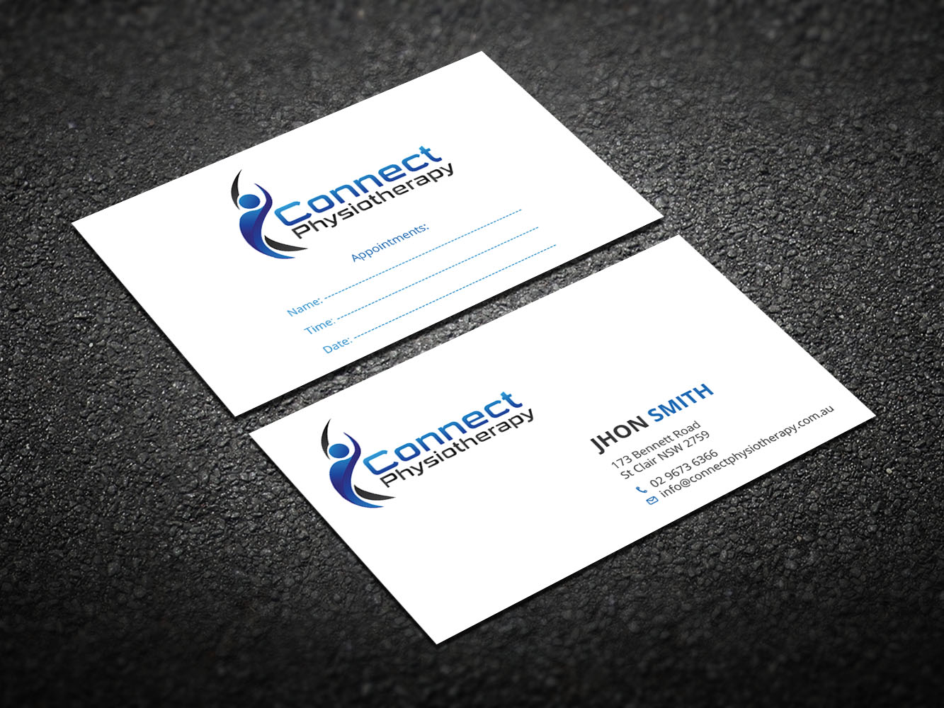 Modern professional business card design for david blackburn by business card design by design xeneration for connect physiotherapy business card design design reheart Choice Image