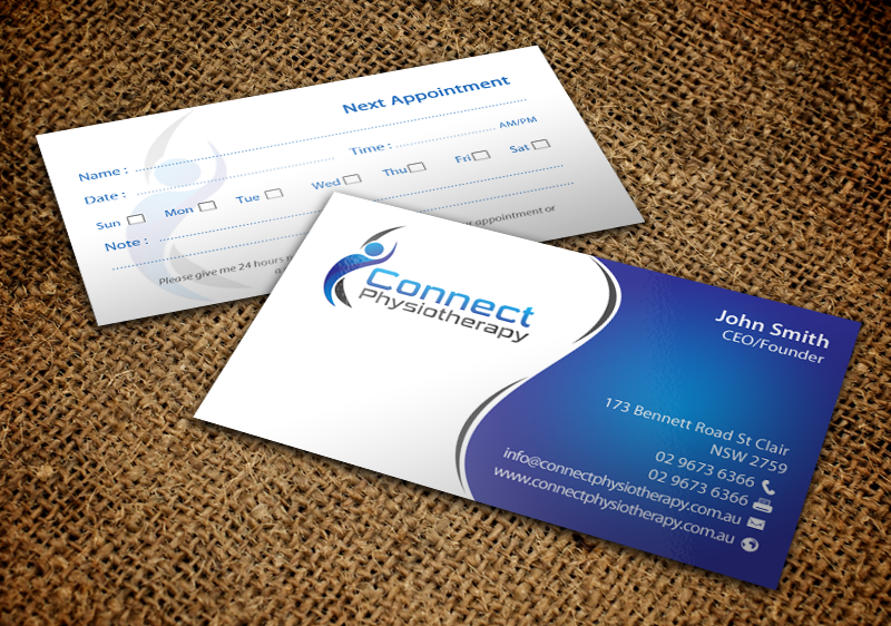 Modern professional business card design for david blackburn by business card design by chandrayaaneative for connect physiotherapy business card design design reheart Image collections