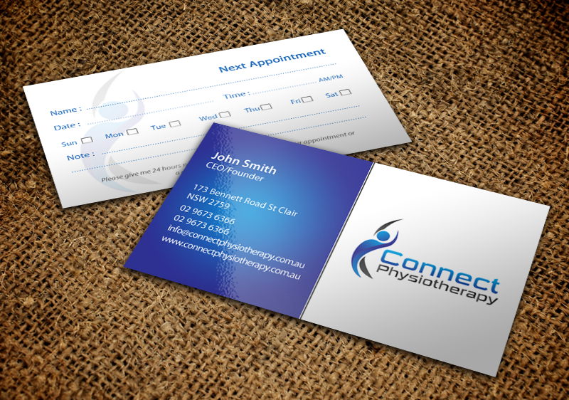 Modern professional business card design for david blackburn by business card design by chandrayaaneative for connect physiotherapy business card design design reheart Choice Image