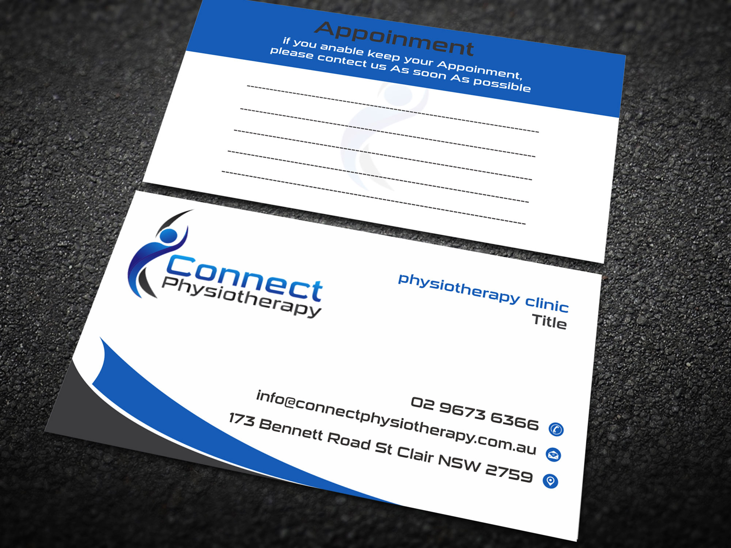 Modern professional business card design for david blackburn by business card design by madhuraminfotech for connect physiotherapy business card design design 10384588 reheart Image collections