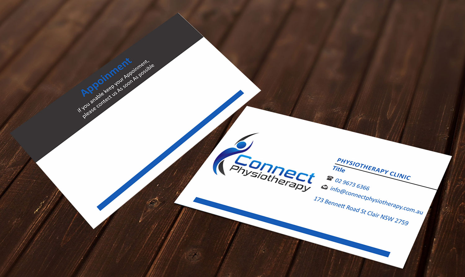 Modern professional business card design for david blackburn by business card design by madhuraminfotech for connect physiotherapy business card design design 10394160 reheart Image collections
