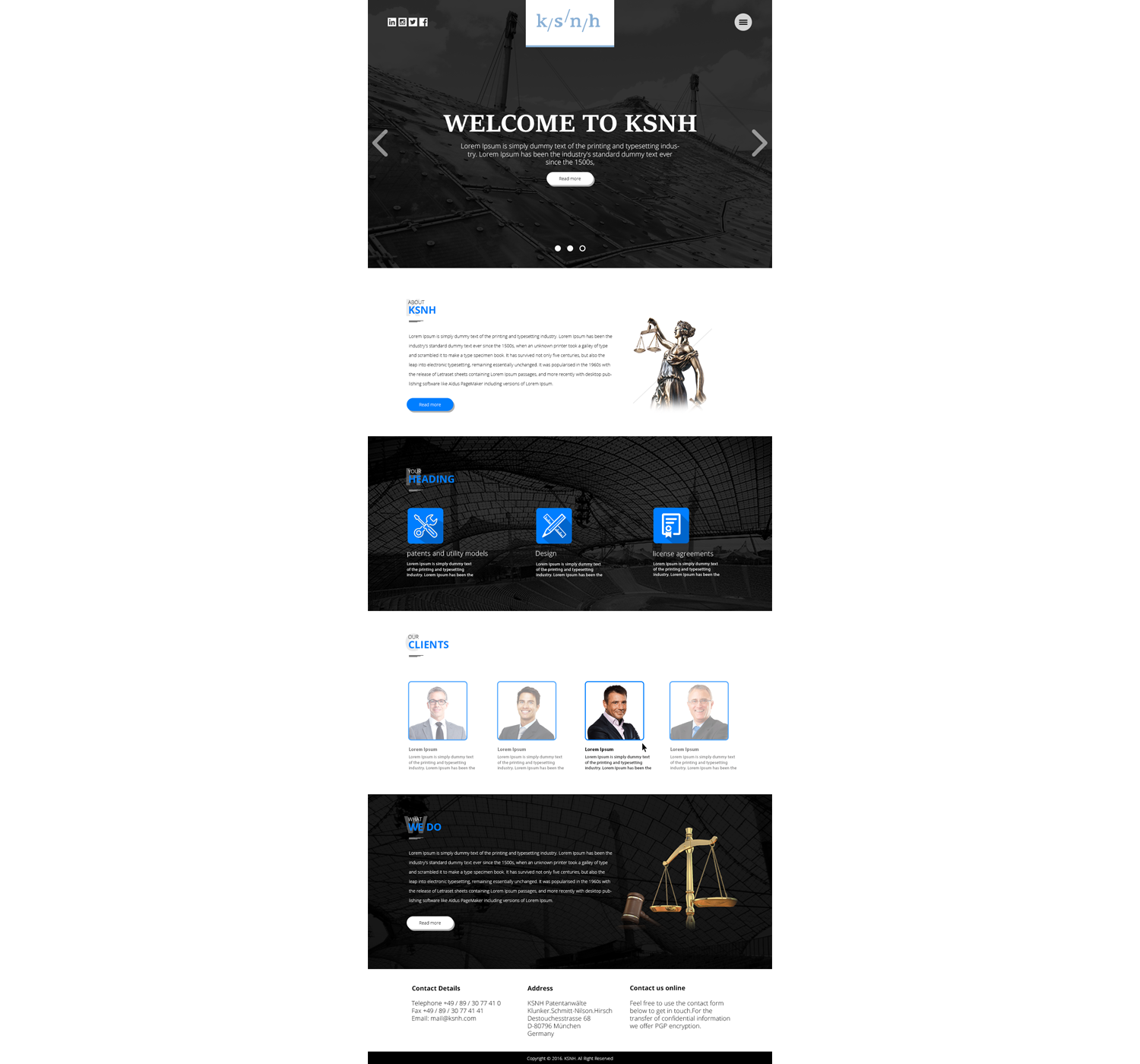 Professional, Elegant, Lawyer Web Design for KSNH Patentanwälte by