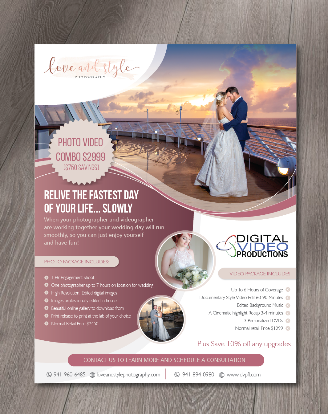Feminine Elegant Wedding Photography Flyer Design For Dvp Llc By Alex989 Design 21219920