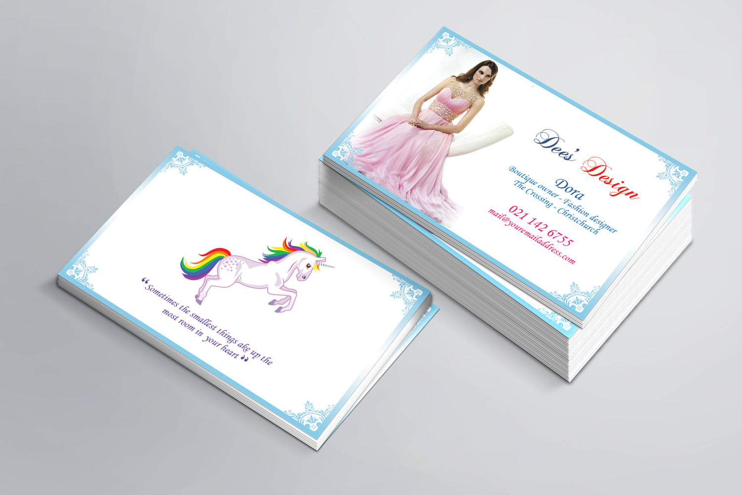 modern feminine business card design for dees design by