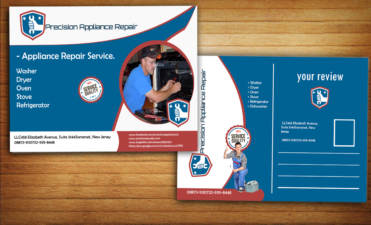 Serious Modern Appliance Repair Postcard Design For