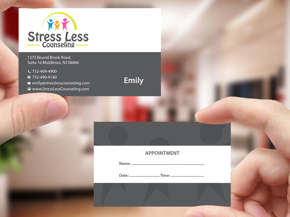 Elegant playful business card design for emily raphel by business card design by creations box 2015 for psychotherapy business card design design 10559825 magicingreecefo Gallery