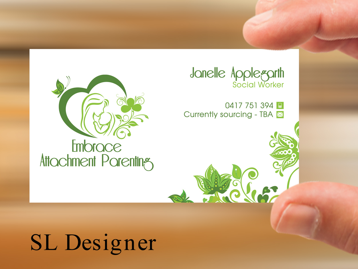 108 elegant business card designs business business card design business card design by sl designer for embrace attachment parenting design 10577408 colourmoves