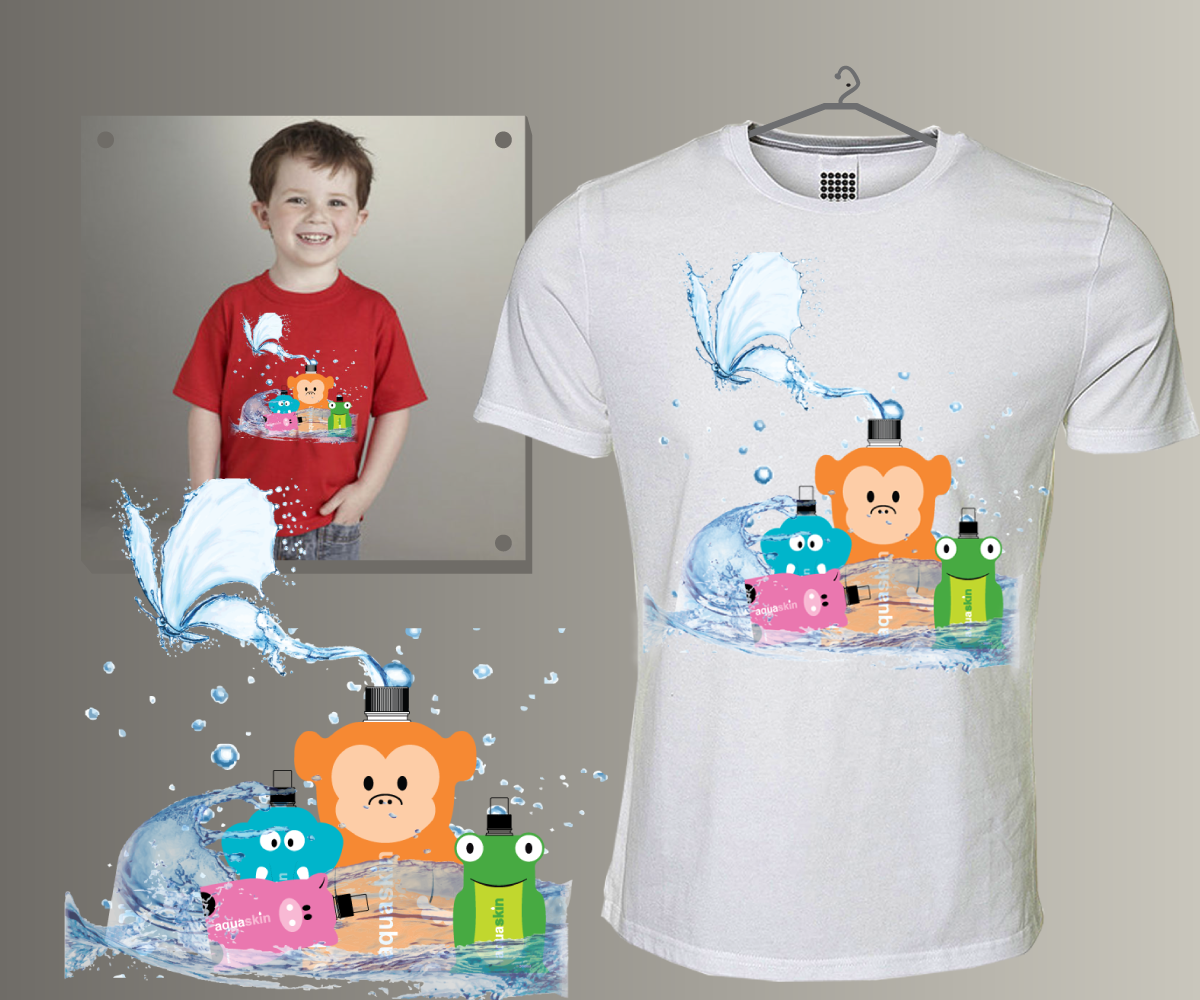 Playful modern call t shirt design for aquaskin for Design t shirts online australia