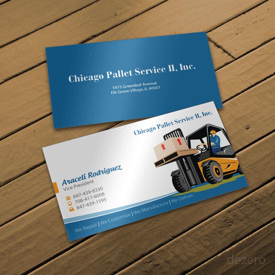 elegant playful business card design for chicago pallet service
