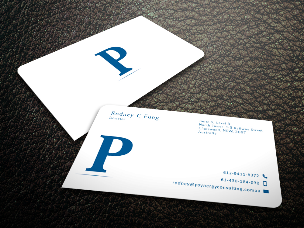 Modern bold hospitality business card design for psynergy for the business card design by mediaproductionart for psynergy consulting group design 2219880 colourmoves
