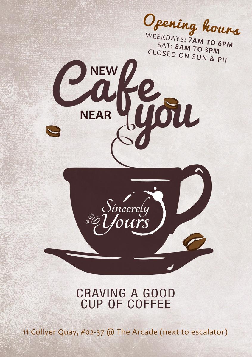 cafe brochure design - bold serious cafe flyer design for oct19 coffee pte ltd