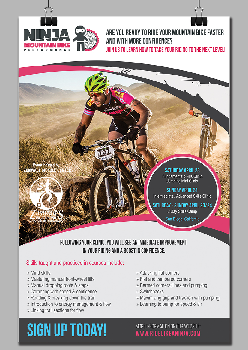 bold personable flyer design for ninja mountain bike performance bold personable flyer design for company in united states design 10590962