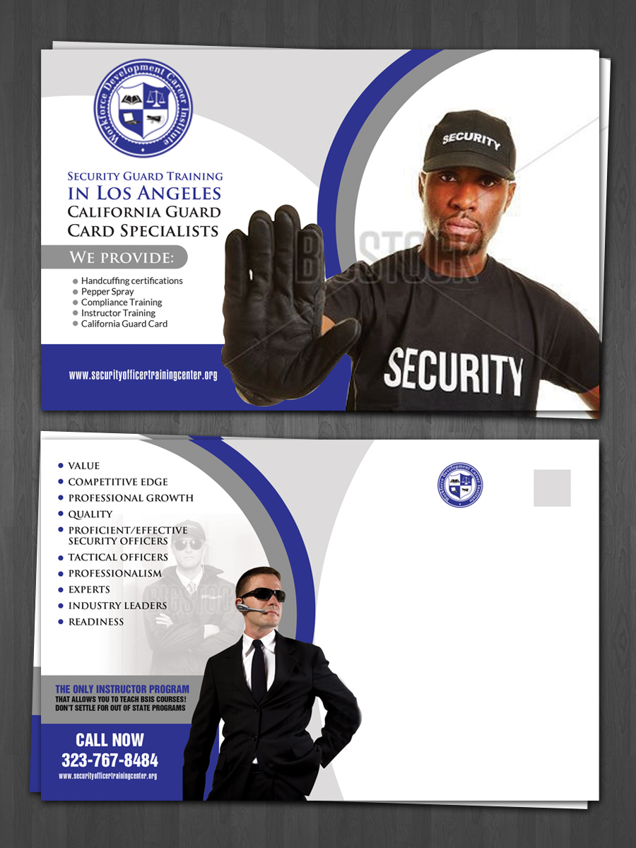 Bold modern postcard design for public safety institute by hih7 design 10628758 - Security officer training online ...