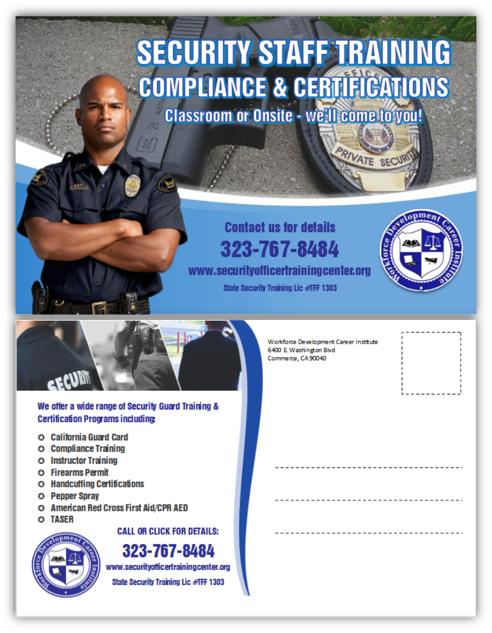 Bold modern security postcard design for public safety institute by citygirl17 design 10738478 - Security officer training online ...