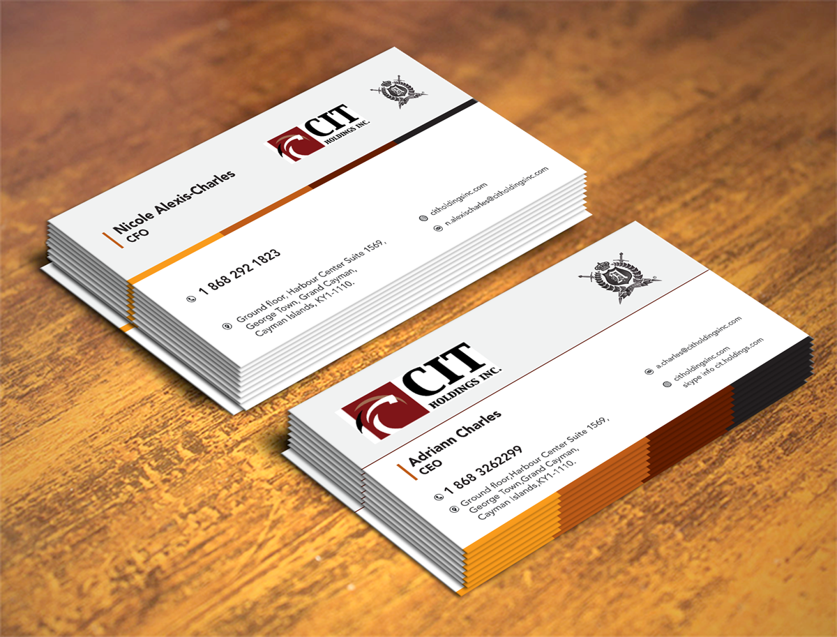 Professional, Serious Business Card Design for CIT Holdings Inc ...