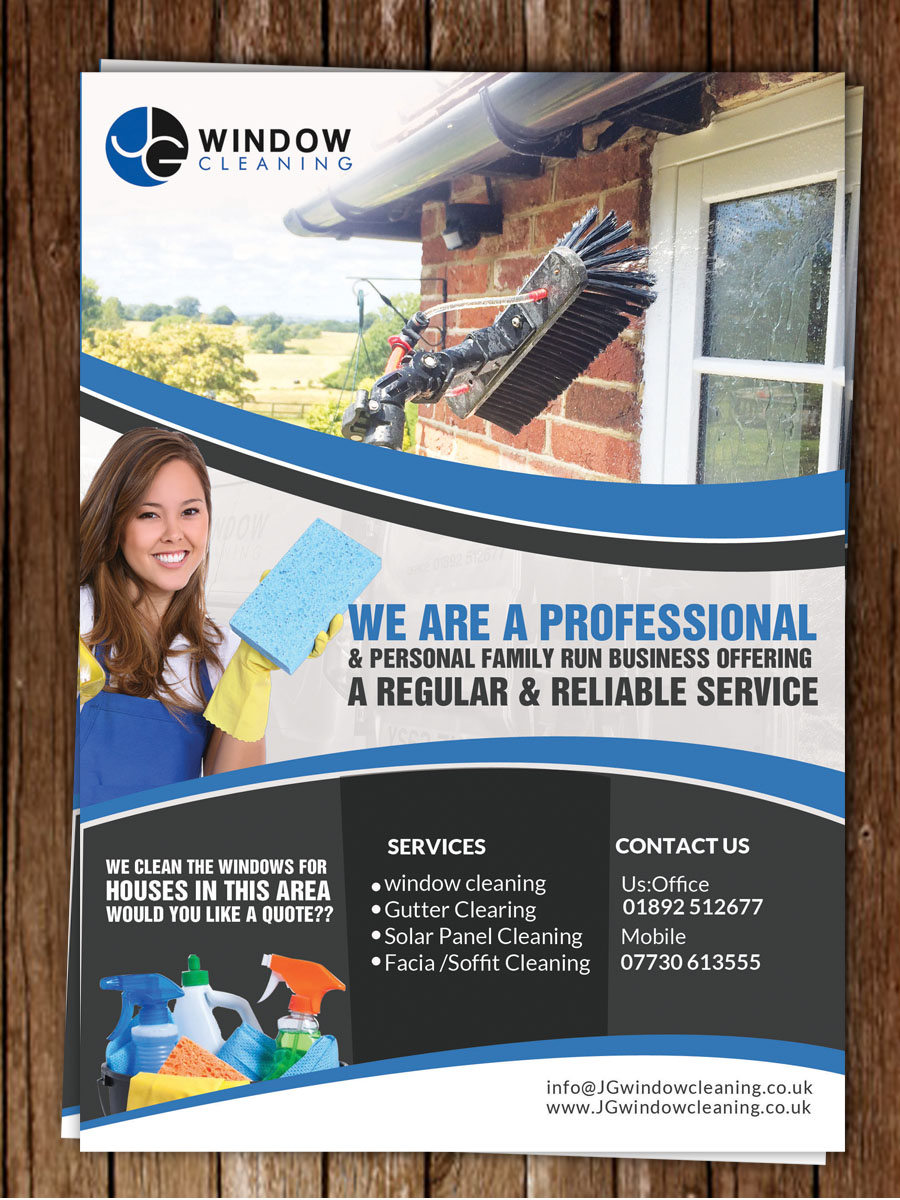 flyer design by hih7 for jg window cleaning design 10624586