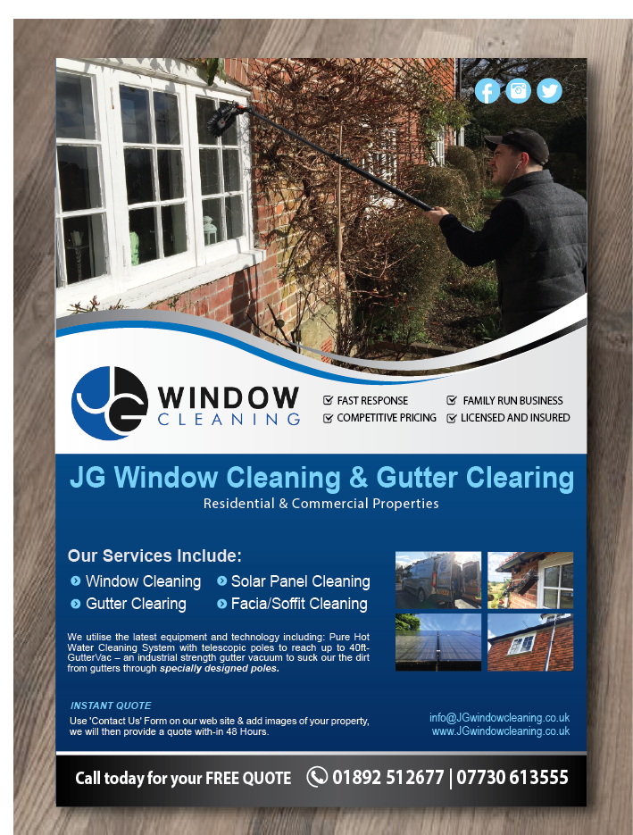 Modern, Elegant Flyer Design for JG Window Cleaning by alex989 ...
