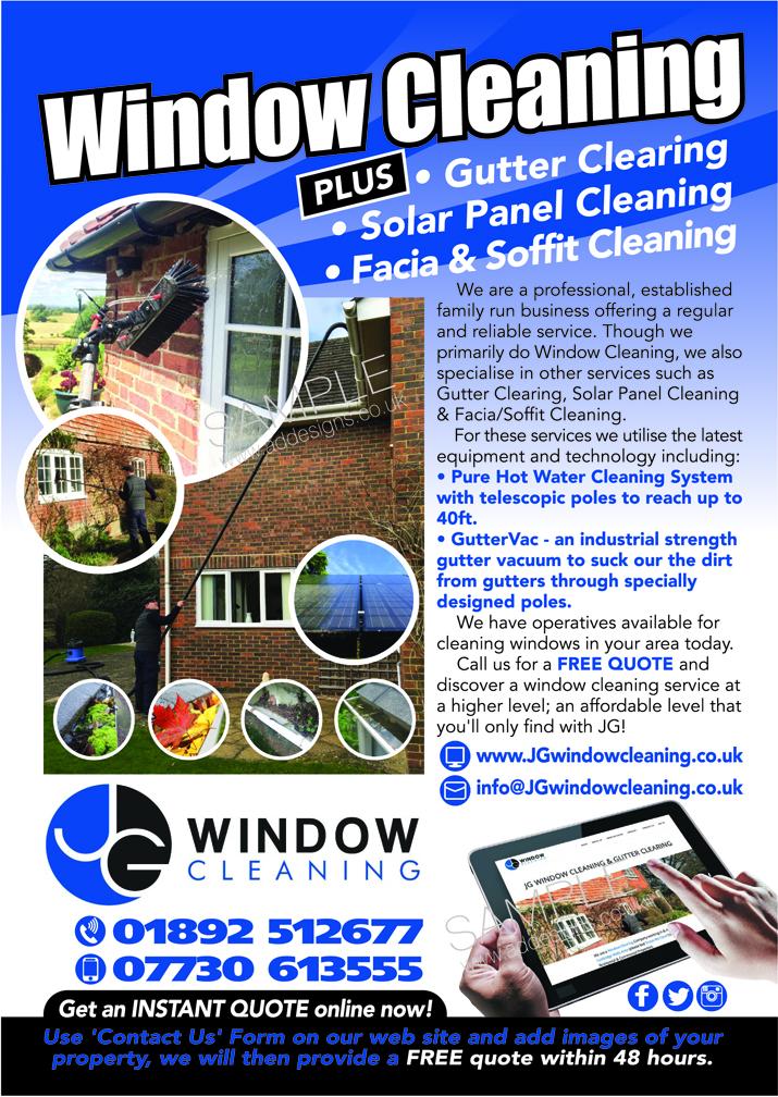modern elegant window cleaning flyer design for jg window cleaning