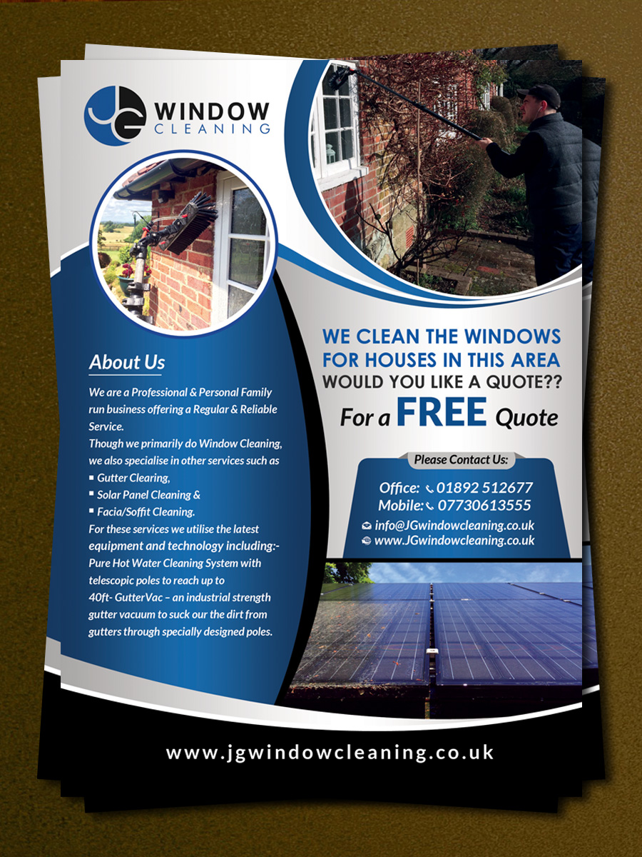 modern elegant window cleaning flyer designs for a window flyer design design 10601955 submitted to jg window cleaning flyer design closed
