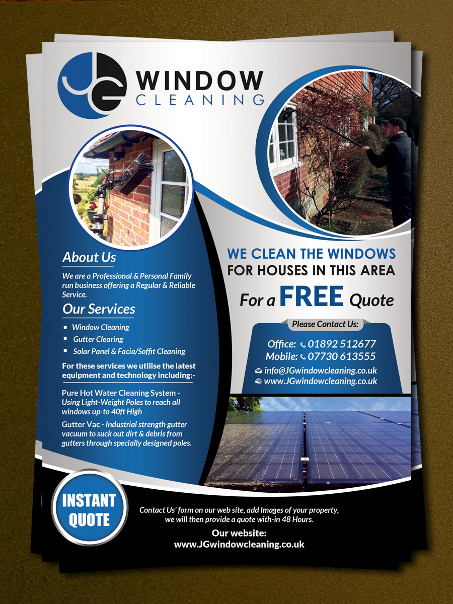 modern elegant window cleaning flyer designs for a window flyer design design 10628214 submitted to jg window cleaning flyer design closed