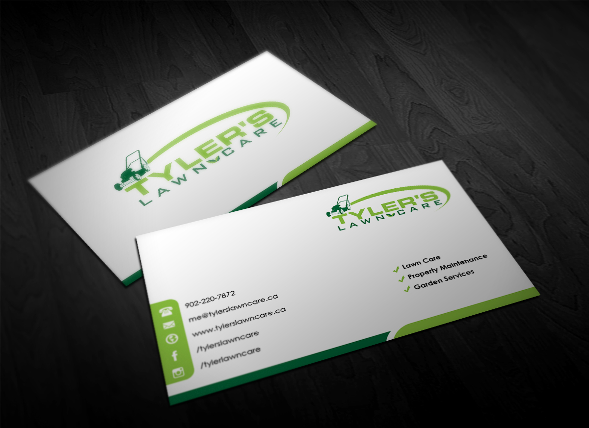 Modern, Bold Business Card Design for Tyler\'s Lawn Care by ...