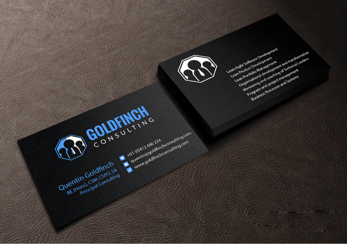 Modern professional business card design for goldfinch consulting business card design by creations box 2015 for rd and engineering management consultancy needs branding magicingreecefo Images