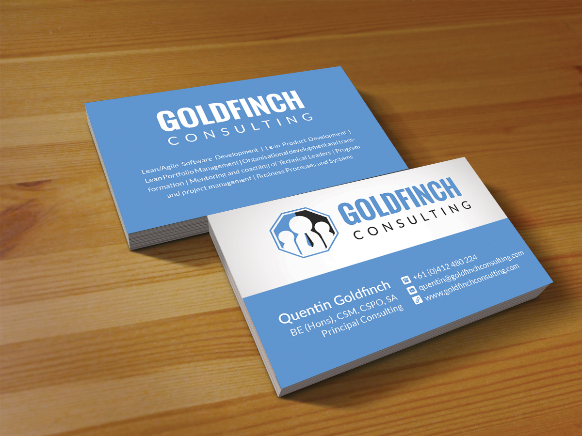 Modern professional business card design for goldfinch for Business design consultant