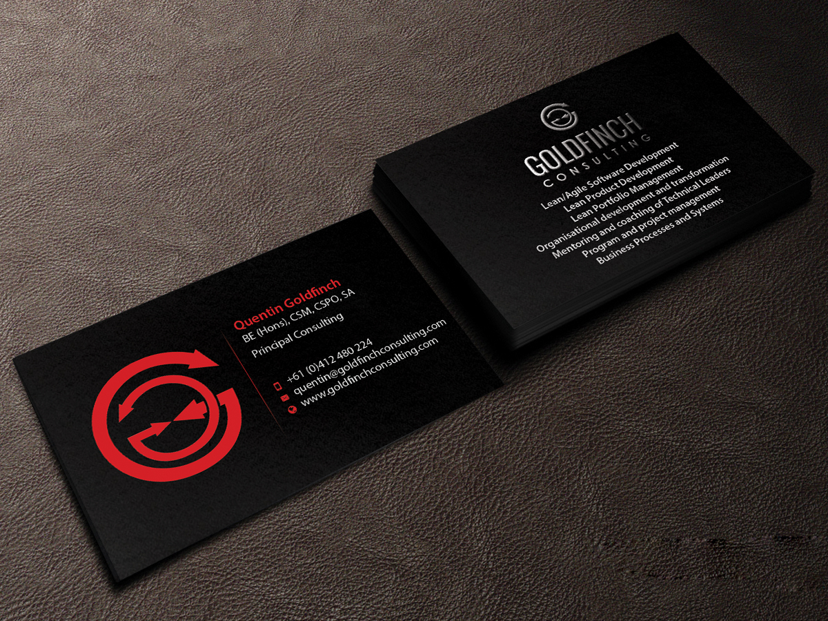 modern professional business card design for goldfinch consulting