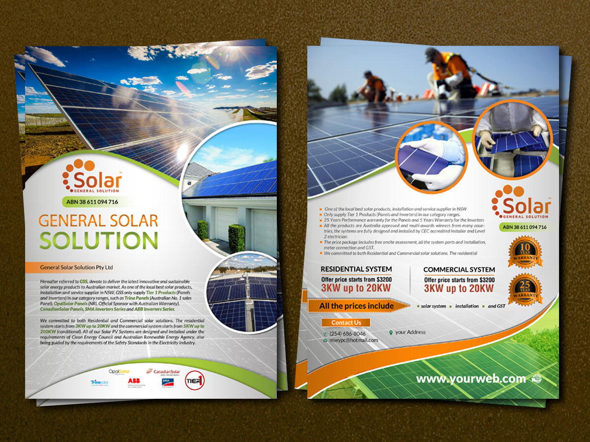 Elegant Modern Solar Energy Flyer Design For General