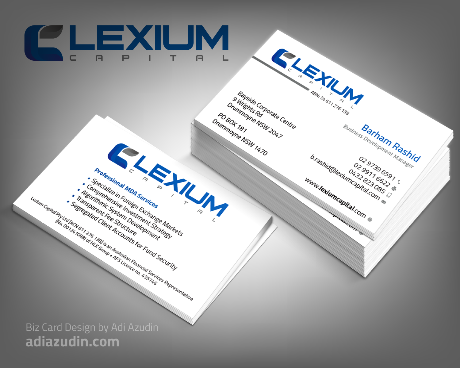 Serious modern financial service business card design for a business card design by adiazudin for this project design 10641067 colourmoves