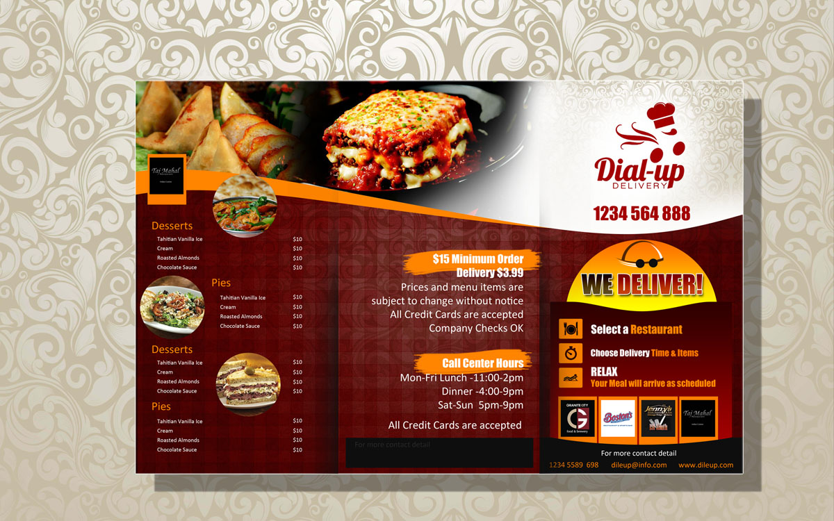 Modern elegant restaurant menu design for dial up