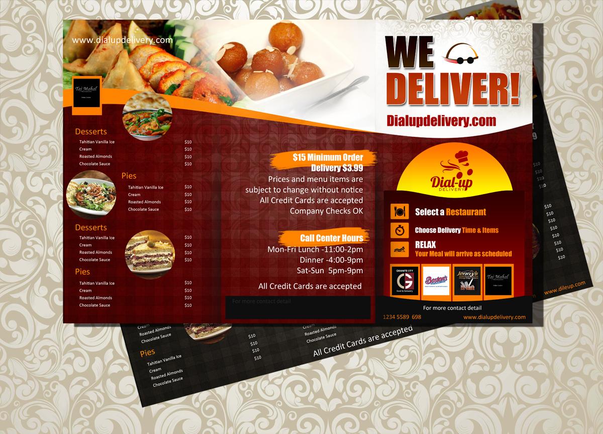 Modern elegant restaurant menu design for dial up