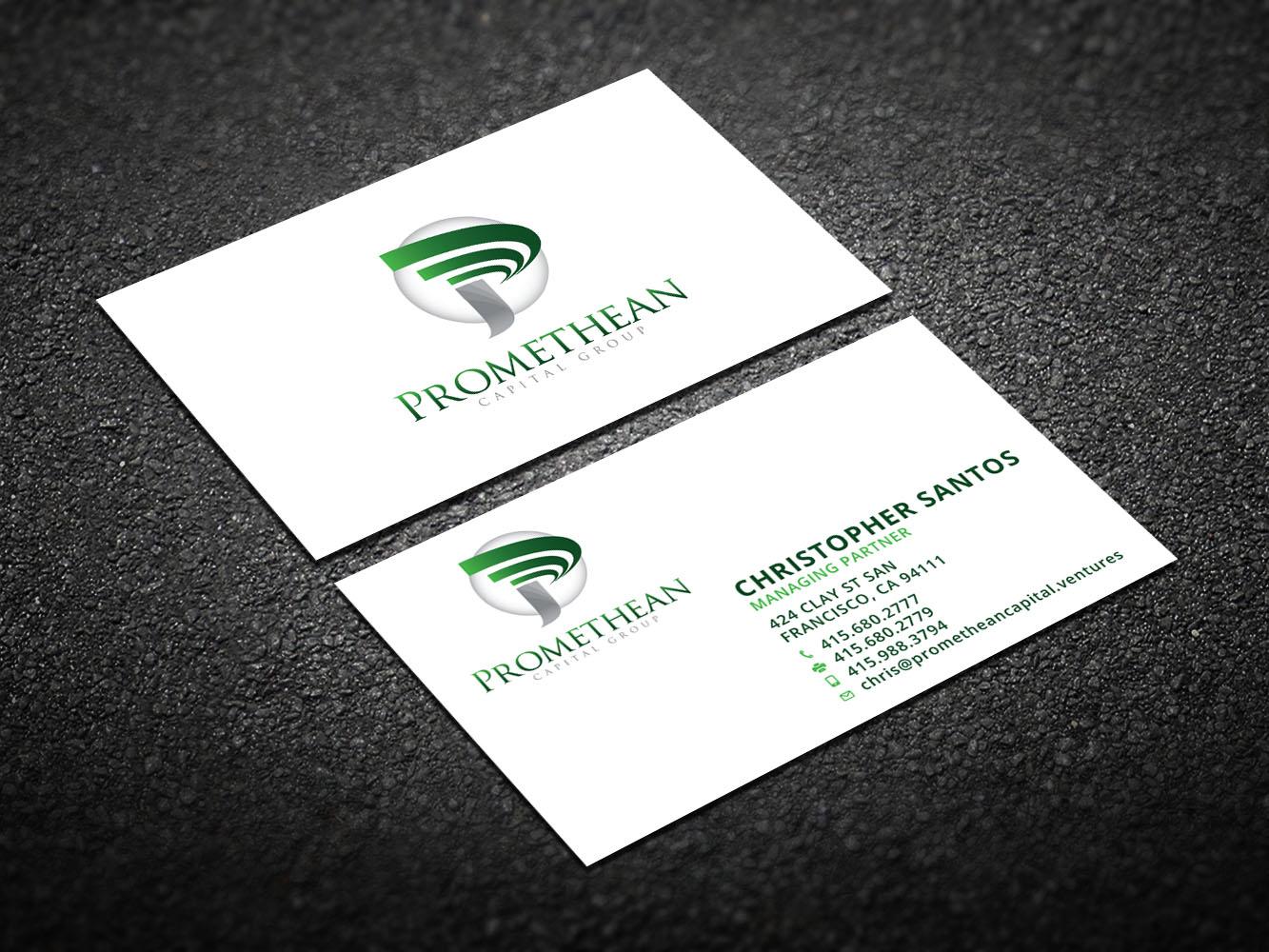 Bold, Modern, Venture Capital Business Card Design for PROMETHEAN ...